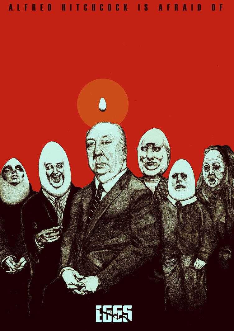 Illustrazione rappresentativa della fobia di Hitchcok per le uova (alectorofobia)
