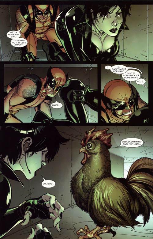 Wolverine, Domino e la gallina nel condotto di aerazione che li pietrifica di paura