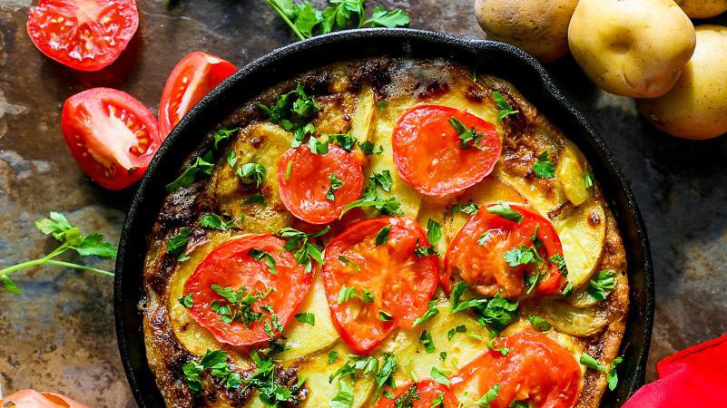 Frittata patate e pomodori con prezzemolo (frittata estiva)
