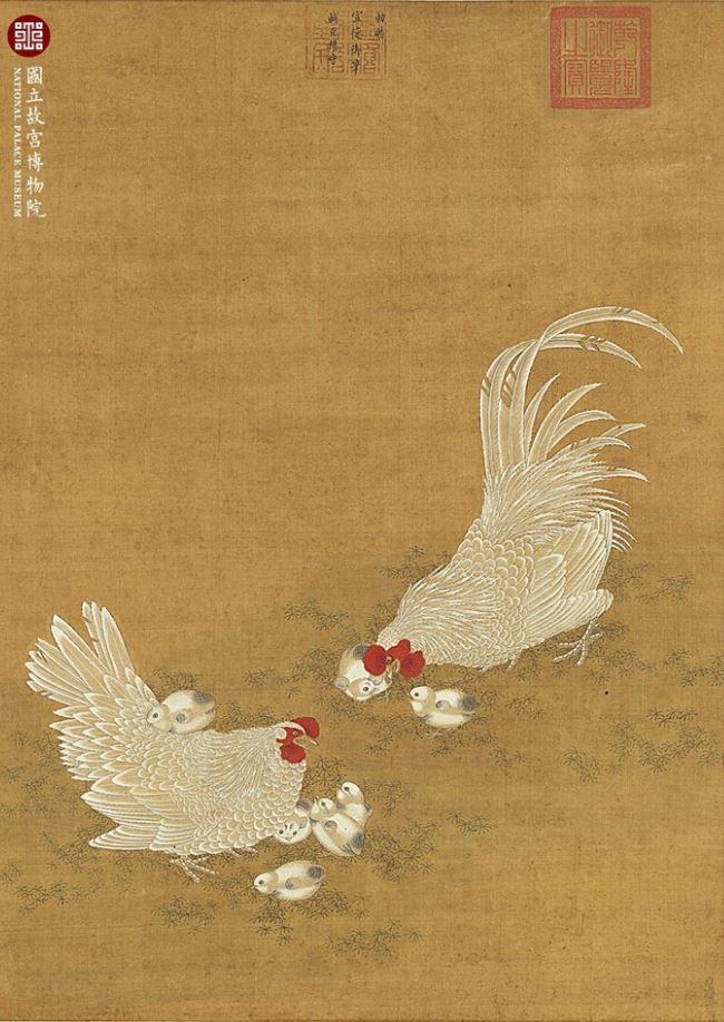 Gallina e gallo con pulcini - Xuanzong (1399-1435, Ming dynasty)