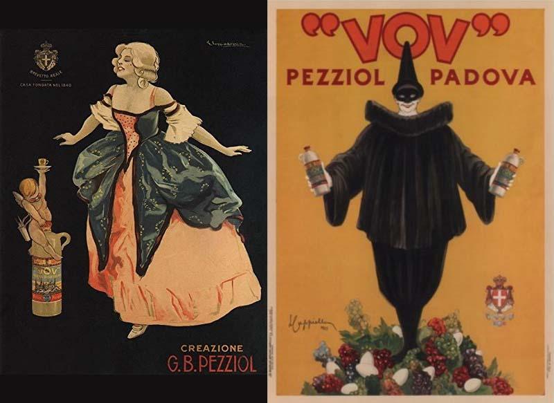 """La grafica """"vintage"""" del Vov di G.B. Pezziol (con il logo del brevetto reale)"""