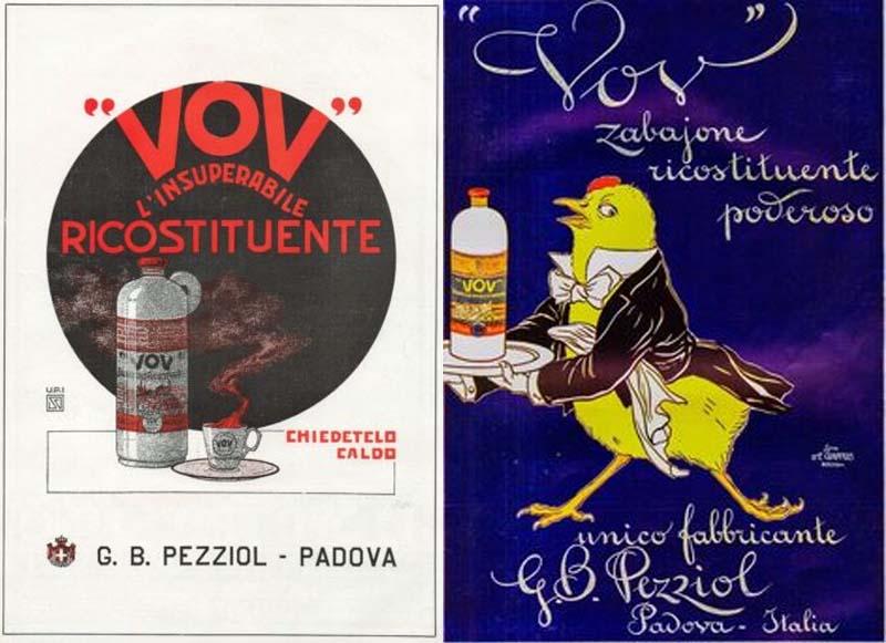 """La grafica """"vintage"""" del Vov di G.B. Pezziol con evidenziate le proprietà ricostituenti."""