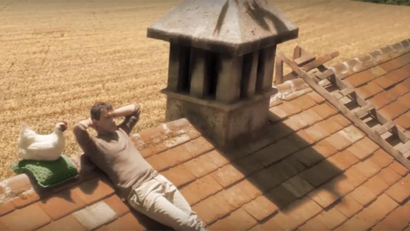 Gallina Rosita meriggia al sole sul tetto in compagnia del mugnaio-Banderas