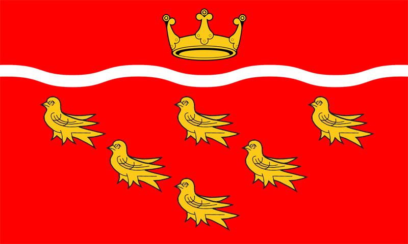 Bandiera dell'East Sussex raffigurante sei Martlets su sfondo rosso