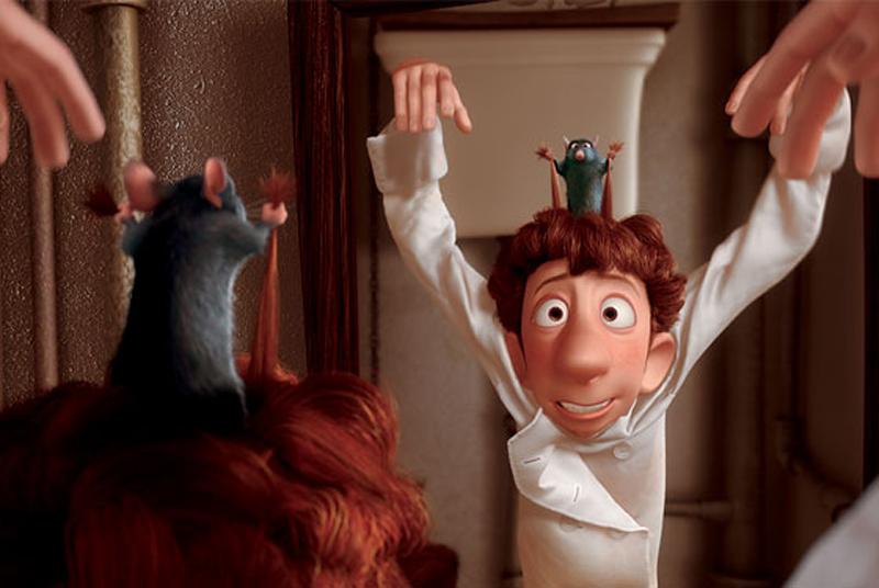 Il topo Remy che fa diventare lo sguattero Linguini un grande chef (Ratatuille - 2007).