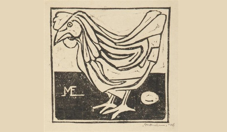 Gallina con uovo (1916), incisione su linoleum a due colori di Maurits Cornelis Escher