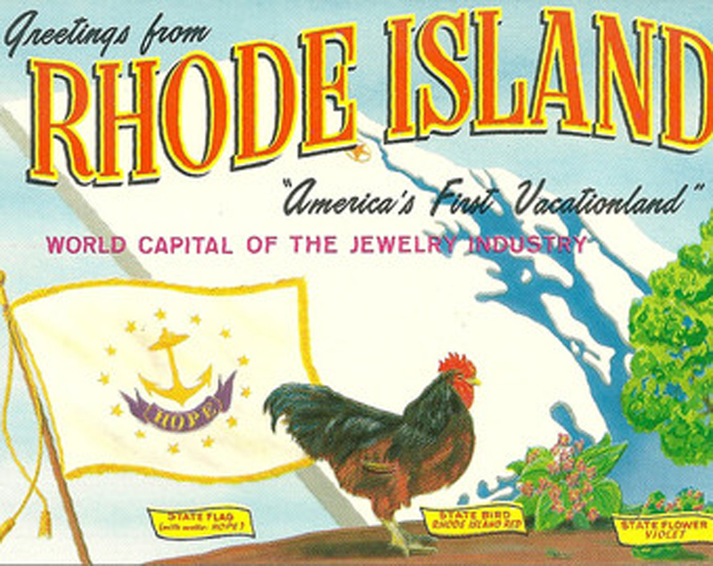 Cartolina vintage con il Red Rhode Island Rooster
