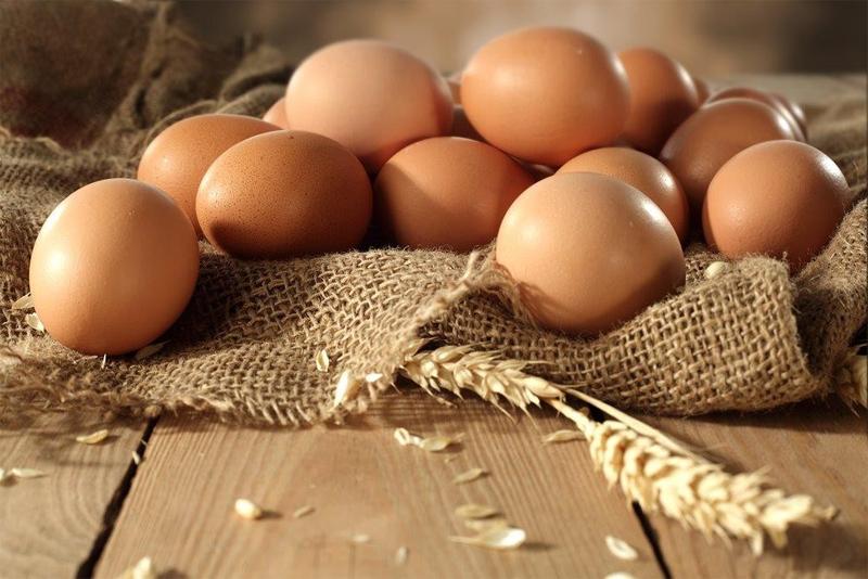 Il classico colore marroncino chiaro del guscio delle uova di Rhode Island