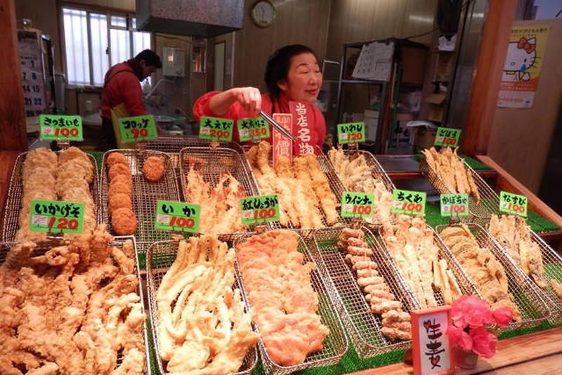Tempura per street food in Giappone