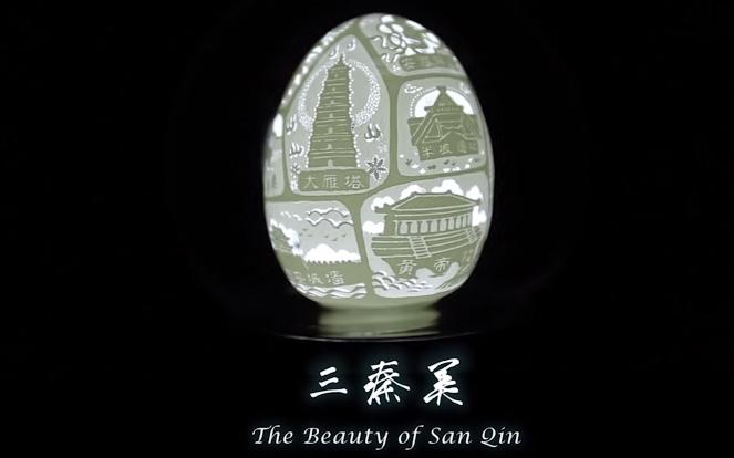 Wen Fuliang, The Beauty Of San Qin | Opera incisa su guscio d'uovo