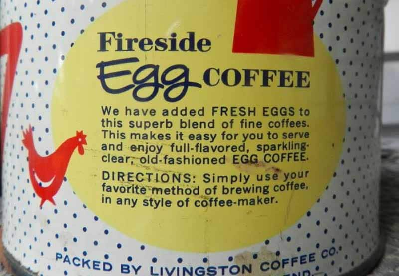 Contenitore vintage in latta dell'Egg Coffee Fireside: istruzioni