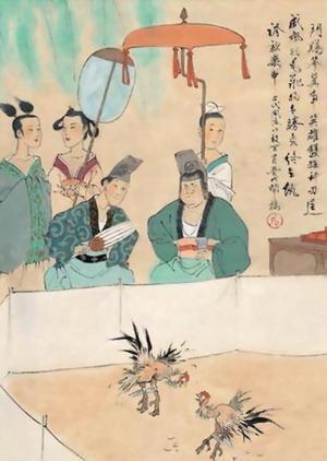 Raffigurazione del combattimento tra galli nell'antica Cina