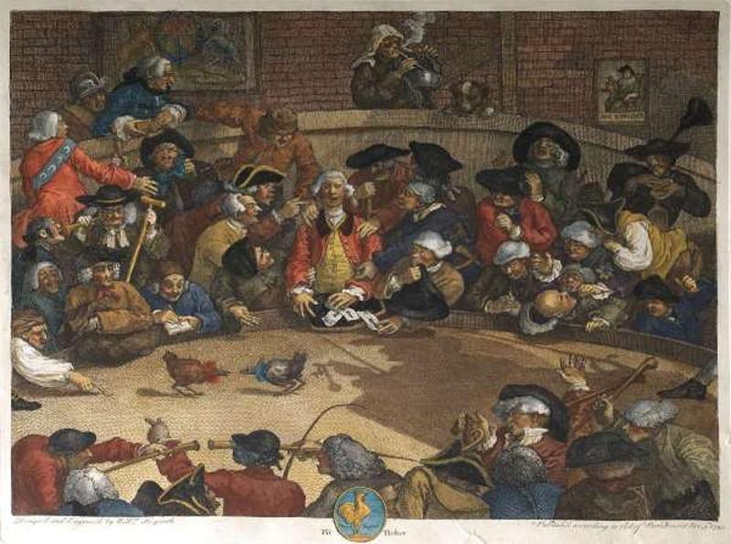 Il combattimento tra galli nella Londra del 18° secolo così come caricaturizzato da William Hogarth