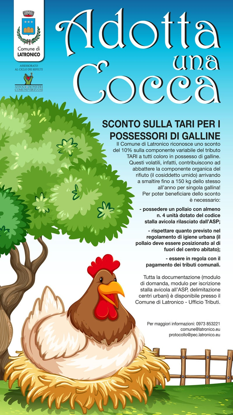 La locandina predisposta dal Comune di Latronico per divulgare l'iniziativa Adotta una Cocca