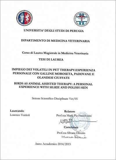 Tesi di Laura su pet-therapy con le galline di Lorenzo Torrioli