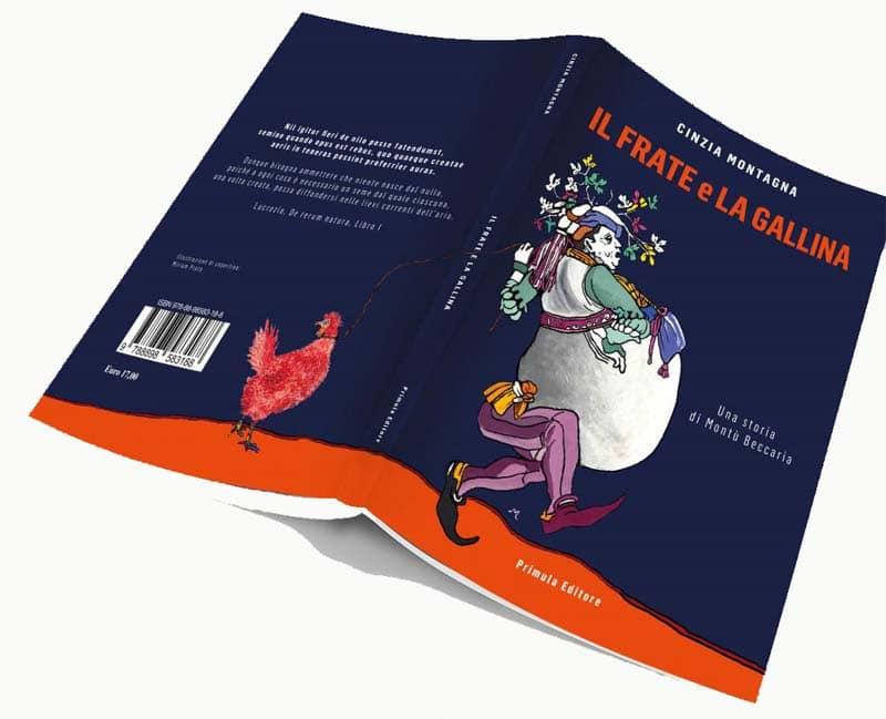 La prima e la quarta di copertina del romanzo con raffigurati, rispettivamente, Frate Martino e la gallina Lucrezia.