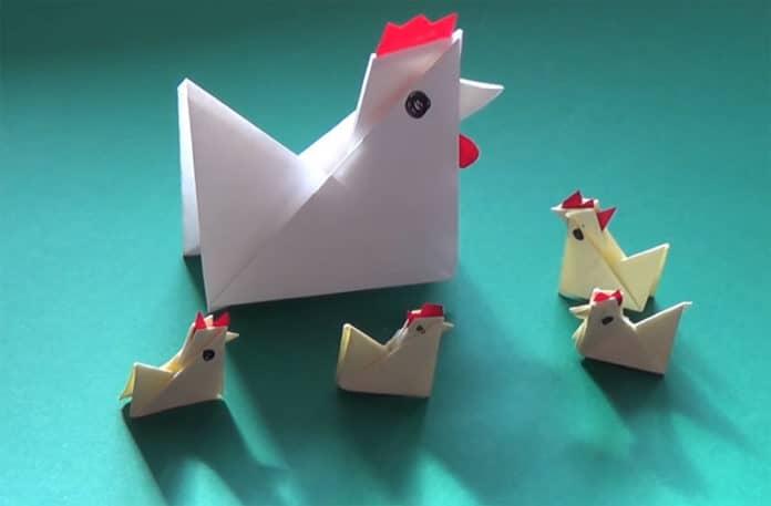 Origami di gallina, gallo e pulcino (ovvero: il pollaio di carta) | Tuttosullegalline.it