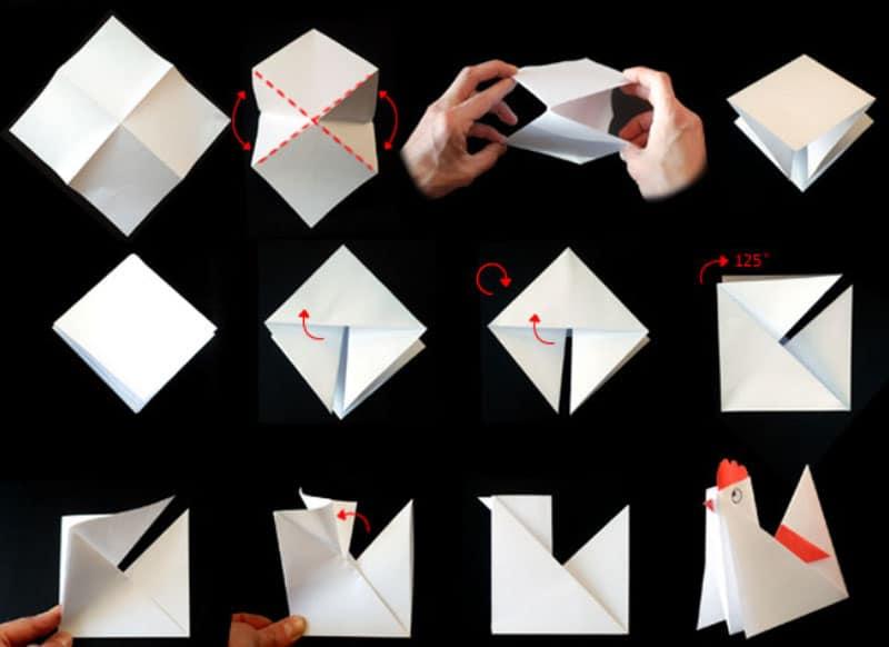 Modello di origami semplice per gallina, gallo e pulcino