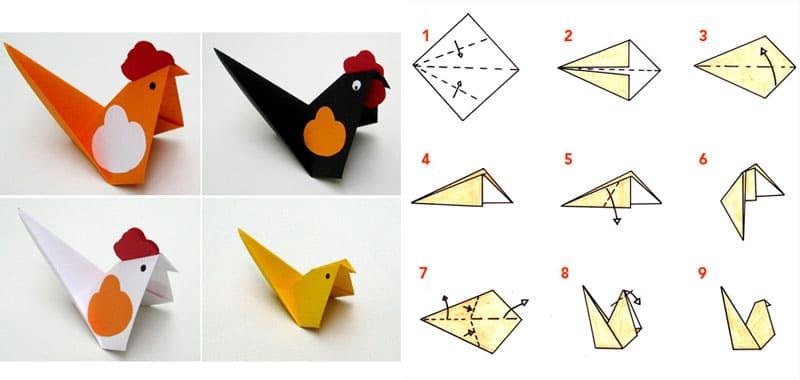 Modello di origami semplicissimo per gallina, gallo e pulcino