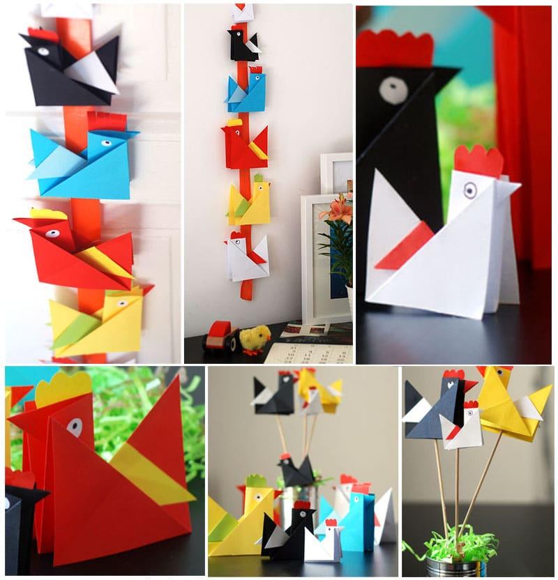 Alcune idee di utilizzo di origami di gallina, gallo e pulcini