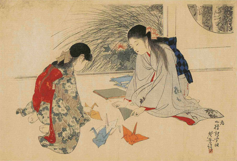 Tradizionale piegatura della carta (origami) a forma di gru (tsuru)