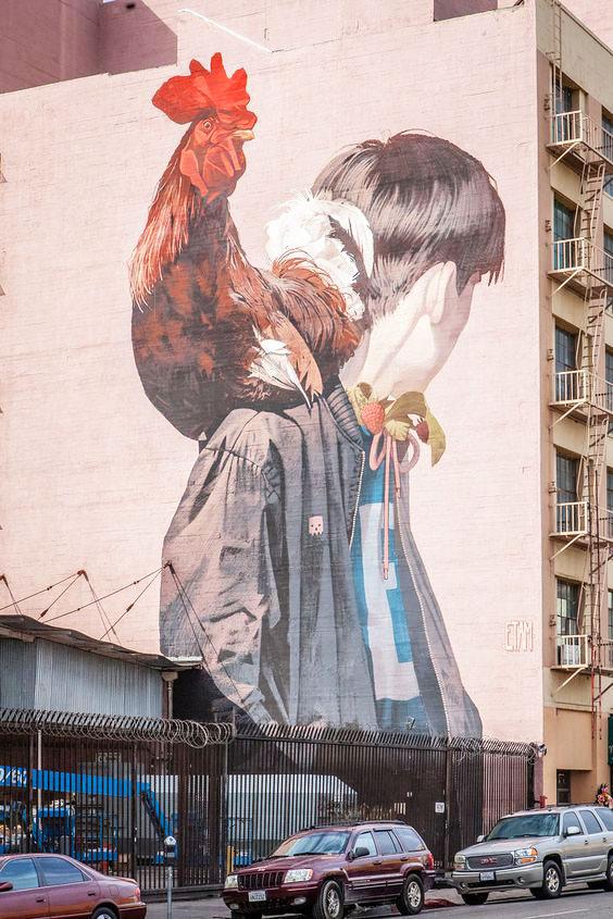 Murales di galli e galline