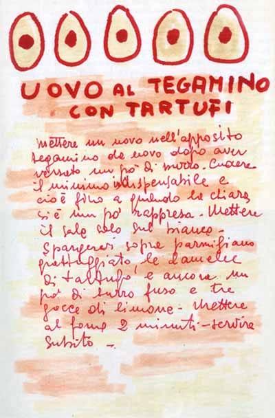 Ricette disegnate a pennarello, uovo al tegamino con tartufi di Ugo Tognazzi