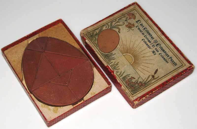Columbian Puzzle (datato tra 1890 e inizio 1900), gioco ispirato all'Uovo di Colombo