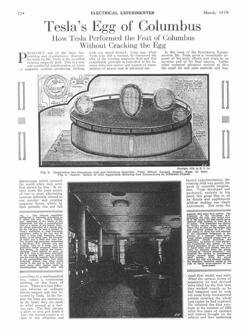 Una rivista di inizio Novecento che descrive l'Uovo Elettromagnetico di Tesla.