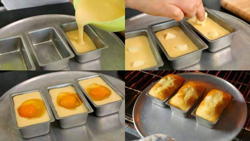 Le fasi della preparazione dell'uovo-pane