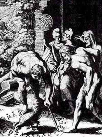 Rappresentazione dell'antica alettriomanzia greca