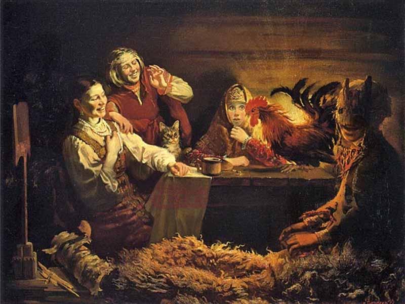 Rappresentazione dell'alettriomanzia popolare della tradizione russa per i matrimoni