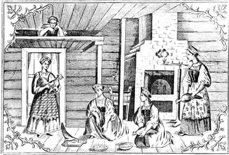 Rappresentazione dell'alettriomanzia tradizionale nella Russia del XIX secolo
