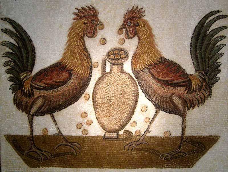 La raffigurazione dell'appetito di due galli intorno ad un anfora di cibo; mosaico (Napoli)
