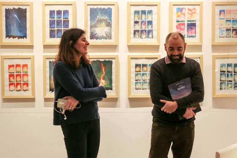 Alessandro Sanna all'inaugurazione della mostra delle tavole del libro