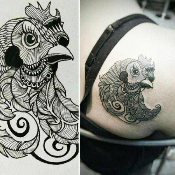 tatuaggio di gallina