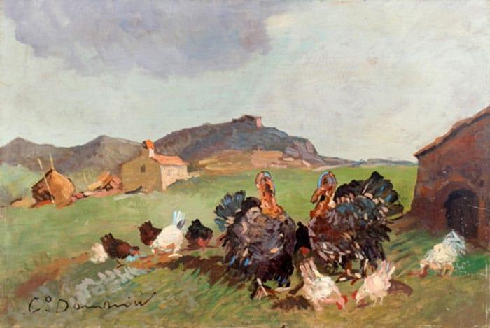 Tacchini con polli - Carlo Domenici (Livorno 1898 - 1981).