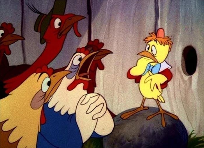 Chicken Little che diffonde nel pollaio l'isterica fobia di massa della caduta del cielo