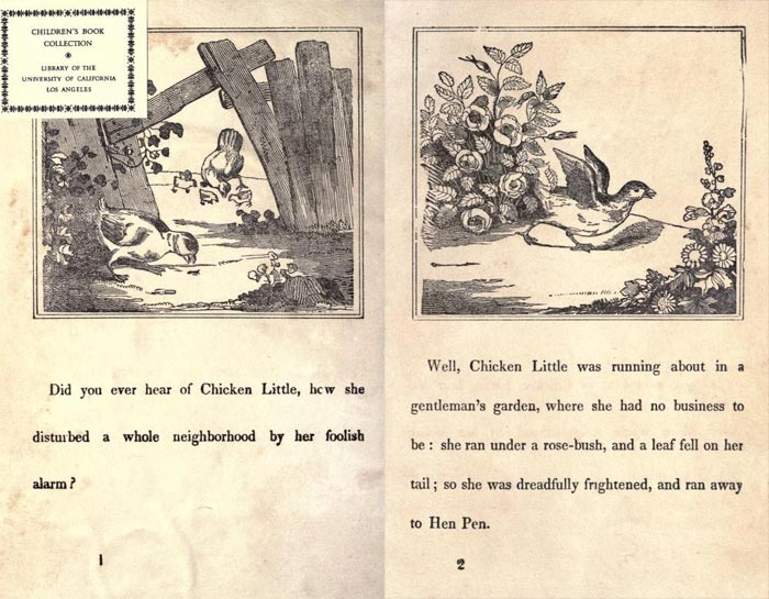 "Pag. 1-2  ""The Remarkable Story of Chicken Little"" (Boston: Degen, Estes & Co., No. 23 Cornhill)."