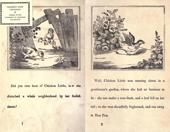"Pag. 1-2 ""The Remarkable Story of Chicken Little"" (Boston: Degen, Estes & Co., No. 23 Cornhill)."