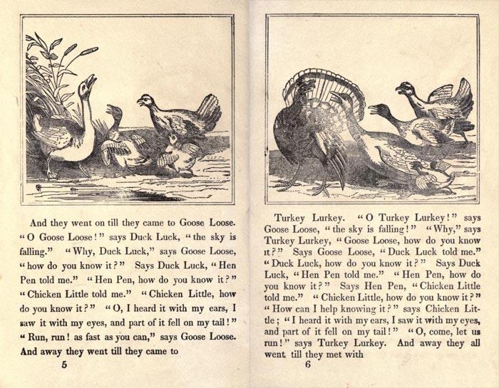 "Pag. 5-6 ""The Remarkable Story of Chicken Little"" (Boston: Degen, Estes & Co., No. 23 Cornhill)."