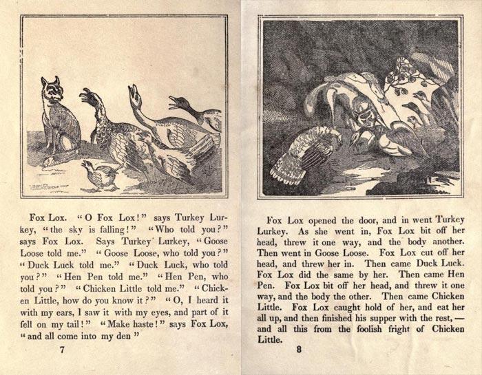 "Pag. 7-8 ""The Remarkable Story of Chicken Little"" (Boston: Degen, Estes & Co., No. 23 Cornhill)."