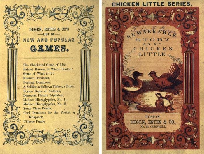 """Copertina (retro-fronte) """"The Remarkable Story of Chicken Little"""" (Boston: Degen, Estes & Co., No. 23 Cornhill)."""
