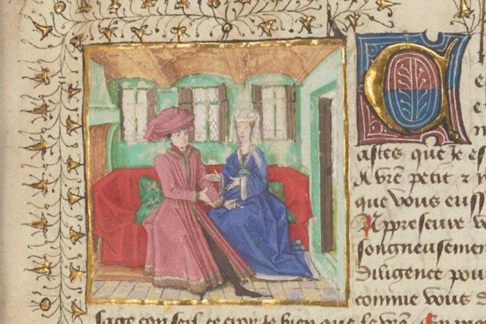 "Una pagina del ""Le Ménagier du Paris"" (1393), dove compare lo studio etimologico della parola omelette"