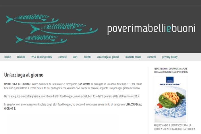 La pagina del blog poverimabelliebuoni dedicata al progetto Un'acciuga al giorno
