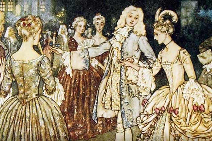 Cenerentola al gran ballo alla corte del re (illustrazione di Edmund Dulac).