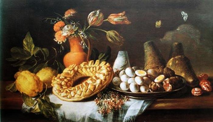 Fiori e pani di Tommaso Realfonso detto Masillo (1677-1743, olio su tela), dipinto con casatiello napoletano
