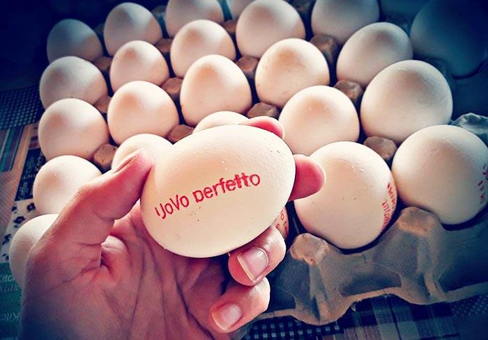 Le uova di Uovo Perfetto etichettate