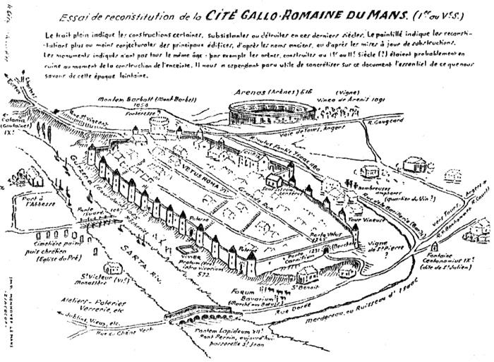 Antica rappresentazione della cittadina di Le Mans