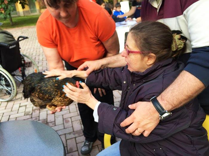 Anziana accarezza la gallina Nerina
